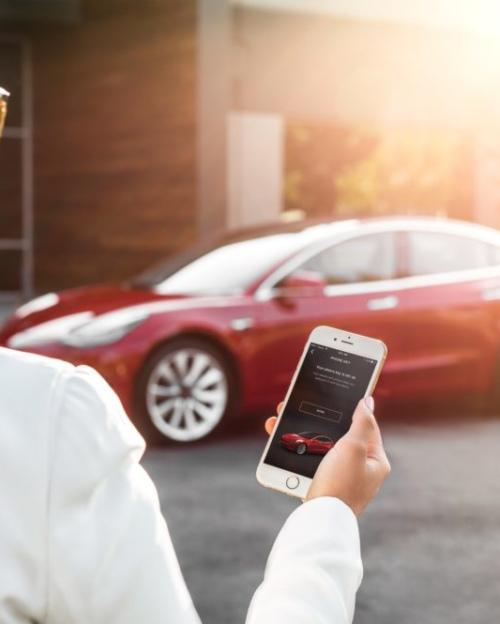 Tesla Model 3 My Tesla Phone App as Key