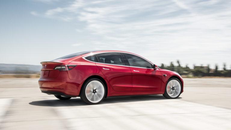 BN Tesla Model 3 Performance Red Rear Motion