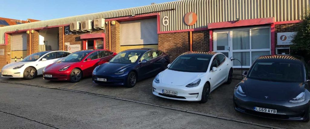 Sharpfibre Tesla electric cars financed on business contract hire through GoFor Finance