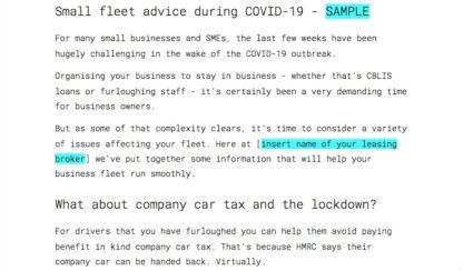 COVID 19 small fleet advice sample copy