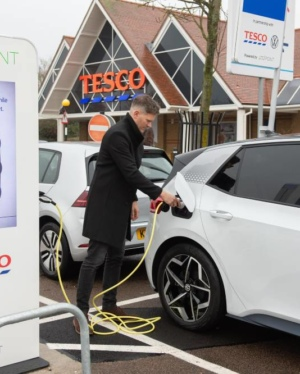 VW ID.3 charging up at the Potters Bar Tesco store 1000px