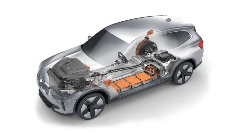New BMW iX3 cutaway demonstrates space saving from electric battery pack