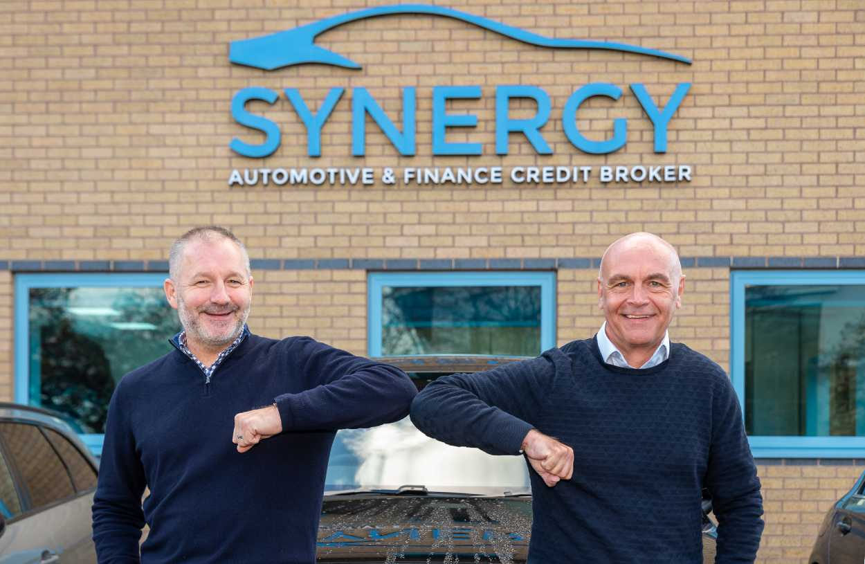 L R Paul Parkinson welcomes David Brockwell to Synergy Car Leasing 1