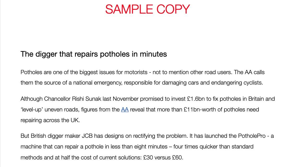 PotholePro Sample Copy