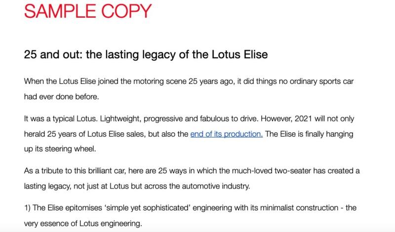 Lotus Elise 25 sample copy