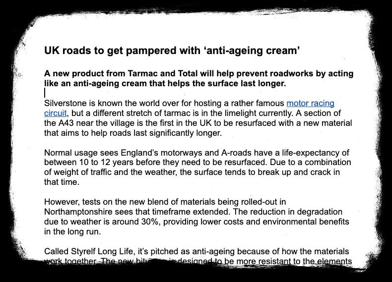 UK roads anti ageing cream tearsheet